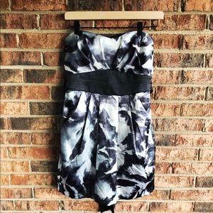 { TRIXXI } NWT Strapless Black/Gray Mini Dress